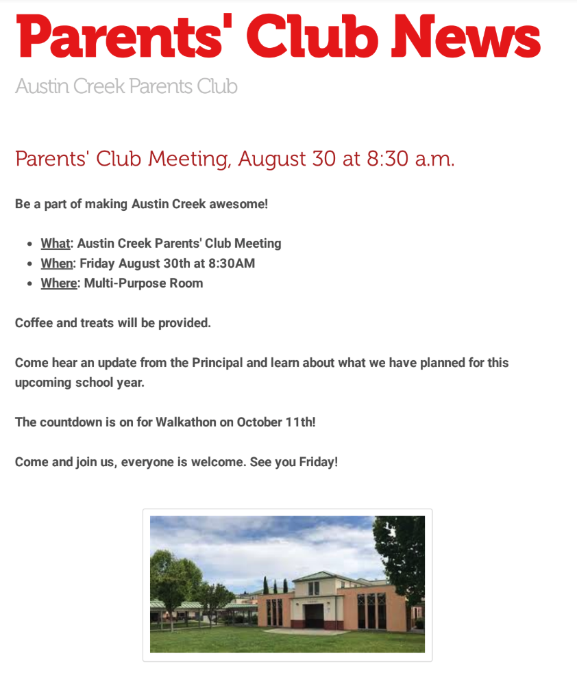 Parent Club Meeting