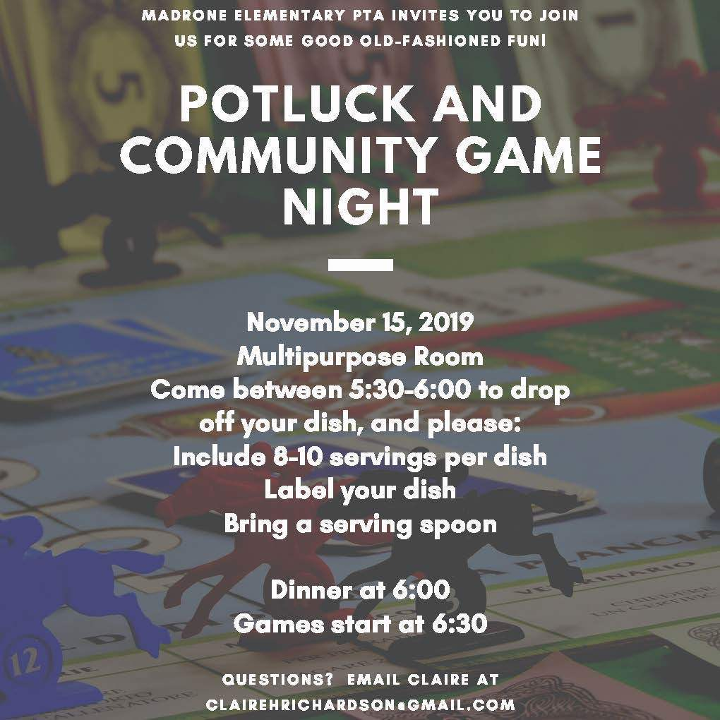 Potluck and Game Night!