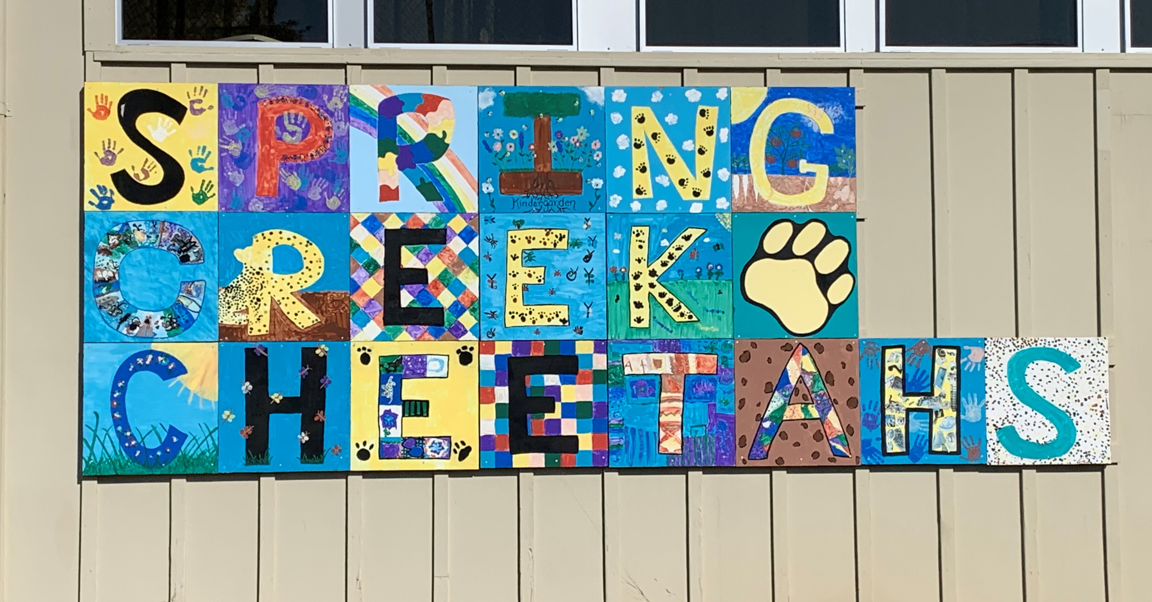 Hand painted Spring Creek Cheetah Sign