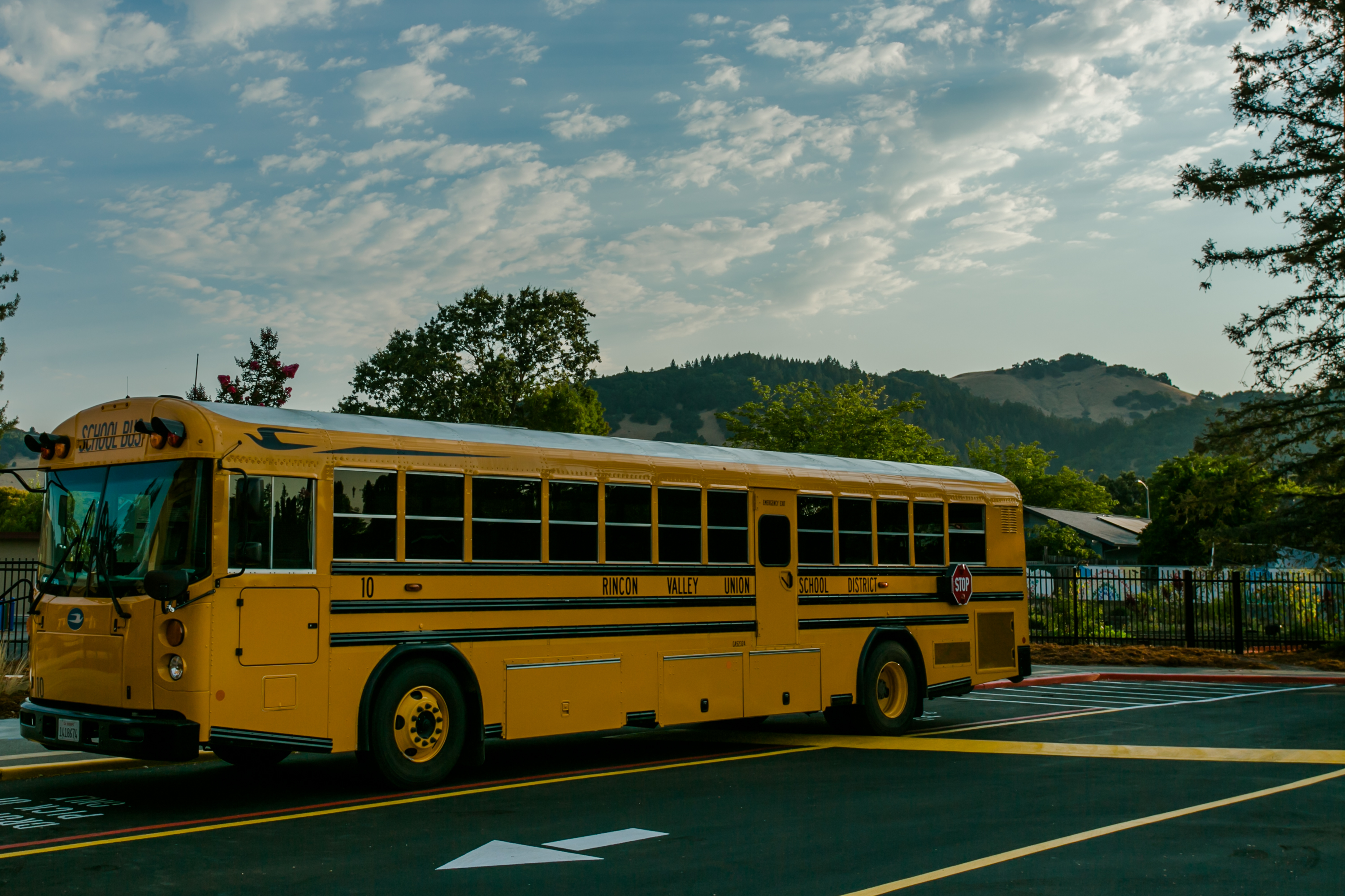 Bus in front of school